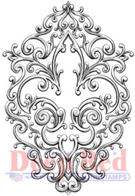 Deep Red Stamps Iron Fleur de lis Rubber Cling Stamp