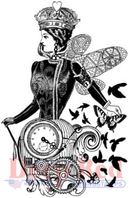 Deep Red Stamps Queen of Time Rubber Cling Stamp
