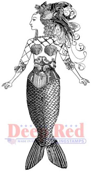 Deep Red Stamps Altered Mermaid Rubber Cling Stamp