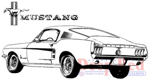 Deep Red Stamps Mustang Fastback Rubber Cling Stamp
