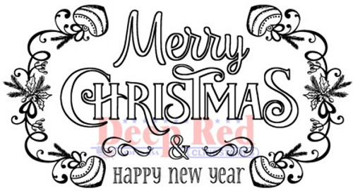Deep Red Stamps Festive Merry Christmas Rubber Cling Stamp