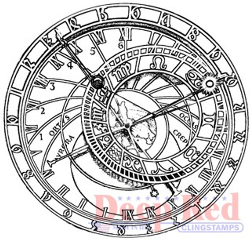 Deep Red Stamps Astronomical Clock Rubber Cling Stamp