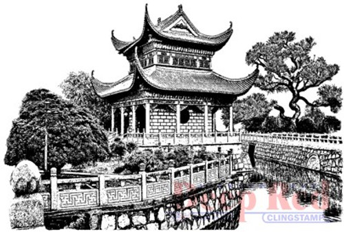 Deep Red Stamps Chinese Garden Rubber Cling Stamp