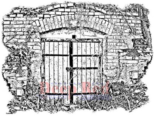 Deep Red Stamps Secret Gate Rubber Cling Stamp