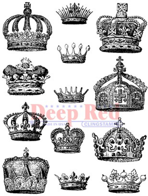 Deep Red Stamps Crown Collection Rubber Cling Stamp