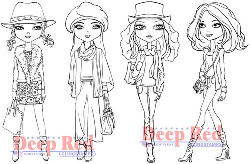 Deep Red Stamps City Girls Fall Fashion Rubber Cling Stamp
