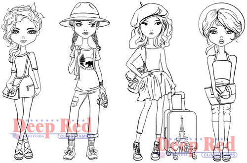Deep Red Stamps City Girls Traveling in Style Rubber Cling Stamp