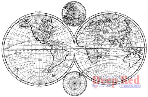 Deep Red Stamps Olde World Map Rubber Cling Stamp