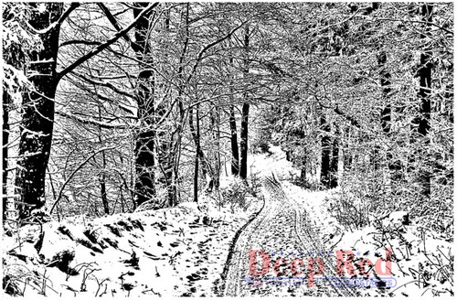 Deep Red Stamps Snowy Path Rubber Cling Stamp