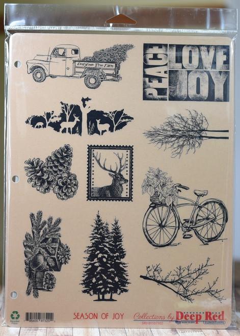 Season of Joy 10 cling stamp collection 3 ring binder storage card