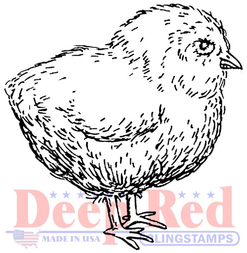 Baby Chicken Rubber Cling Stamp by Deep Red Stamps