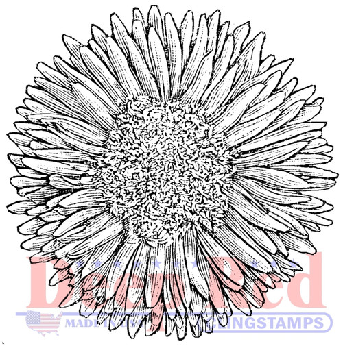 Chrysanthemum Rubber Cling Stamp by Deep Red Stamps