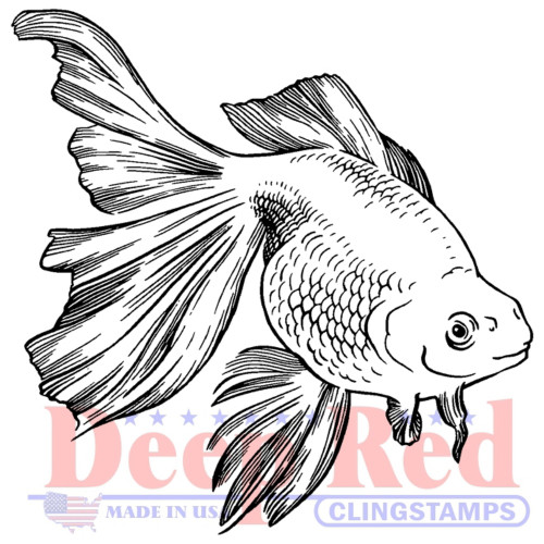 Goldfish Rubber Cling Stamp by Deep Red Stamps