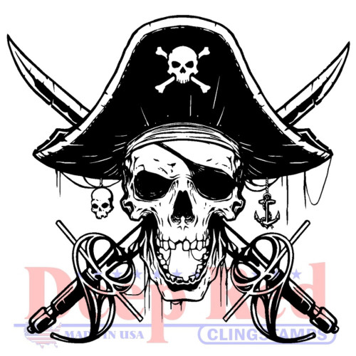 Beware of Pirates Rubber Cling Stamp by Deep Red Stamps