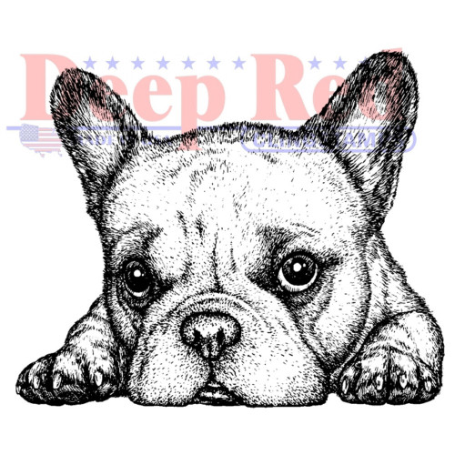 French Bulldog Rubber Cling Stamp by Deep Red Stamps