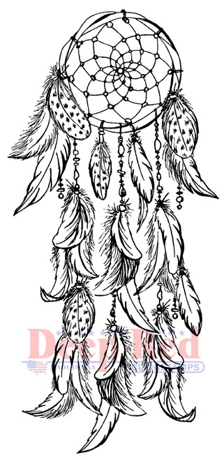 Dream Catcher Rubber Cling Stamp by Deep Red Stamps