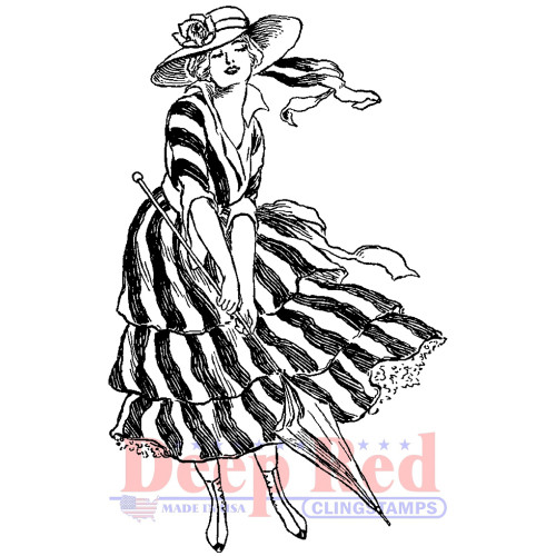 Windy Day Girl Rubber Cling Stamp by Deep Red Stamps