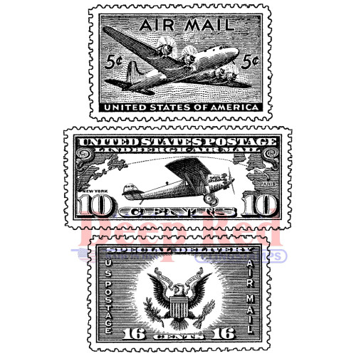 Air Mail Postage Rubber Cling Stamp by Deep Red Stamps