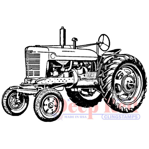 Vintage Farm Tractor Rubber Cling Stamp by Deep Red Stamp