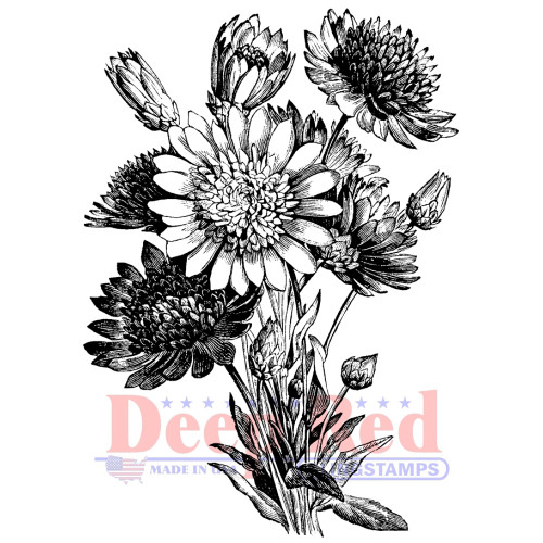 Xeranthemum Rubber Cling Stamp by Deep Red Stamps