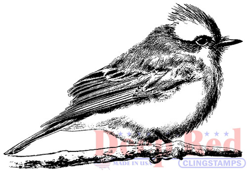 Vermilion Flycatcher Rubber Cling Stamp by Deep Red Stamps