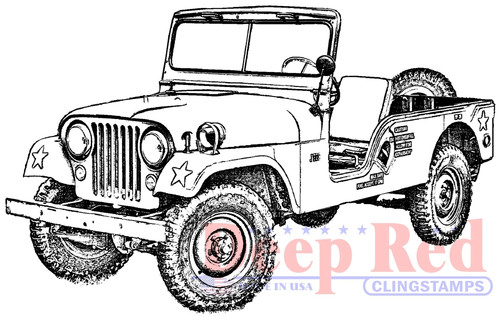 Vintage Military Jeep Rubber Cling Stamp by Deep Red Stamps