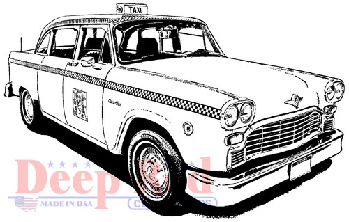 Classic Taxi Rubber Cling Stamp by Deep Red Stamps