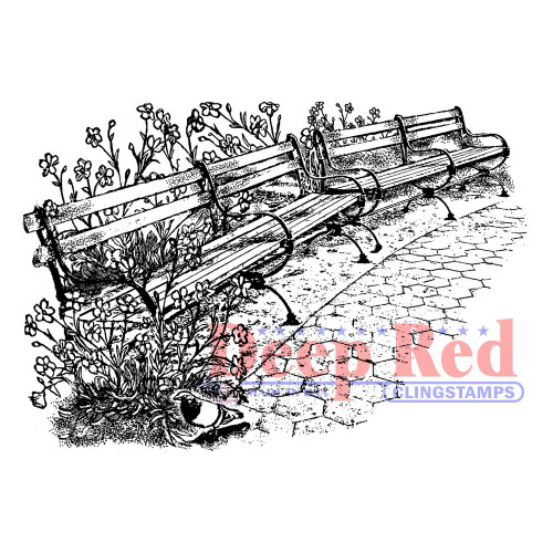 Park Benches Rubber Cling Stamp by Deep Red Stamps