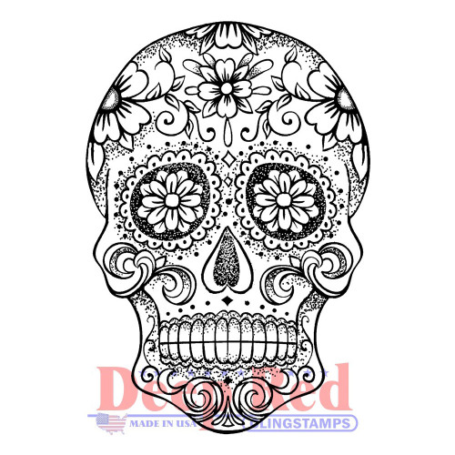 Sugar Skull Rubber Cling Stamp by Deep Red Stamps