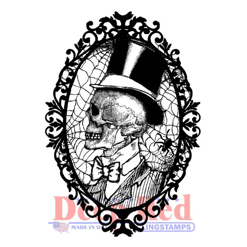 Cobweb Cameo Rubber Cling Stamp by Deep Red Stamps