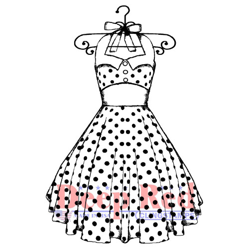 50s Summer Dress Rubber Cling Stamp by Deep Red Stamps