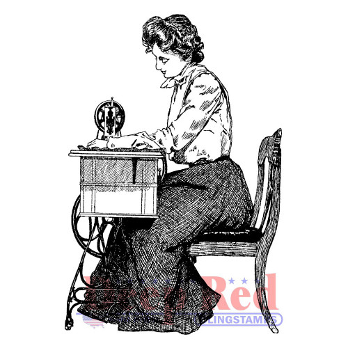 Victorian Seamstress Rubber Cling Stamp by Deep Red Stamps
