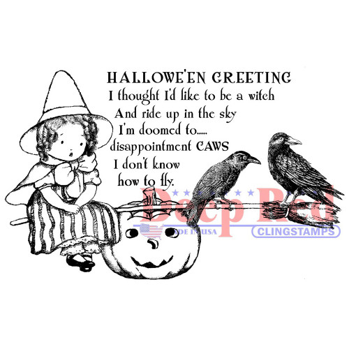 Little Witch Rubber Cling Stamp by Deep Red Stamps