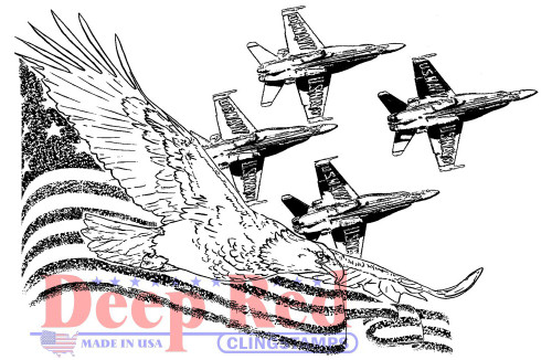 Soaring Eagle with Angels Rubber Cling Stamp by Deep Red Stamps