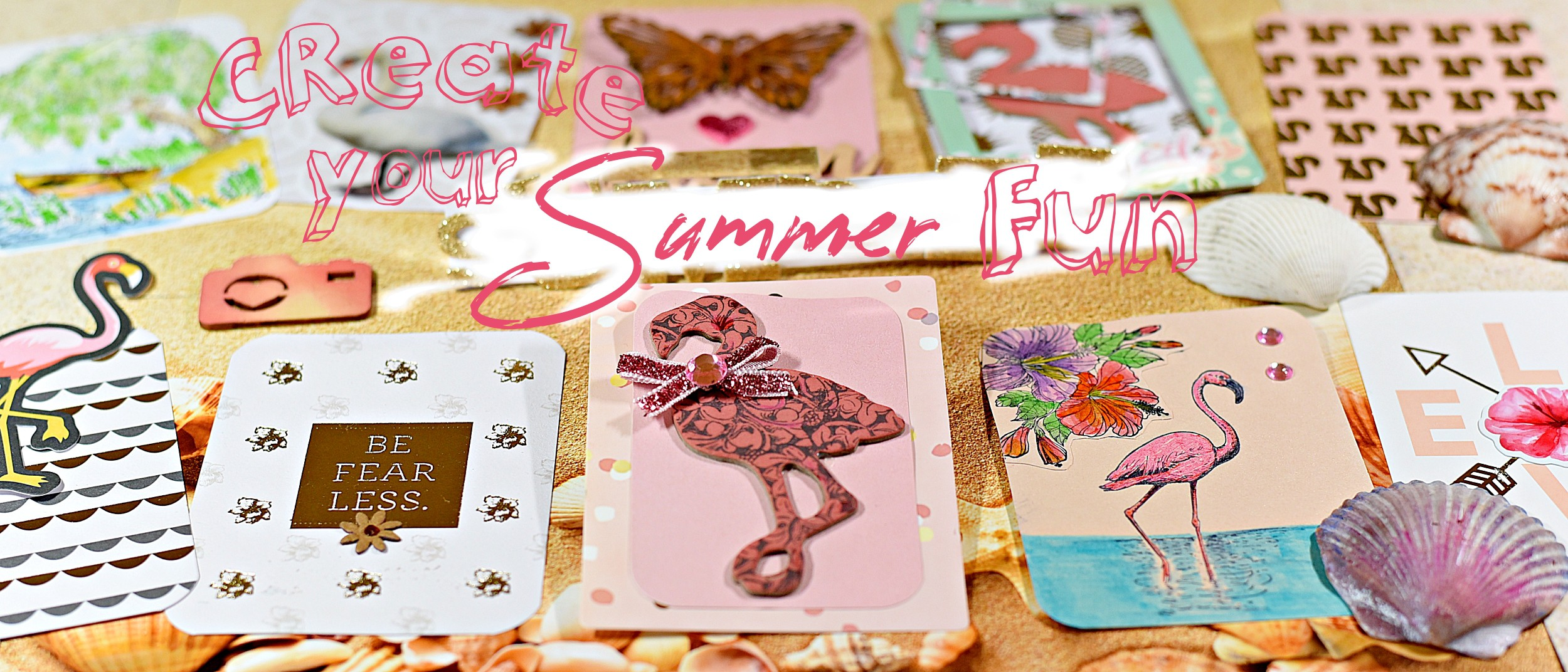 Summer theme rubber stamps like the Flamingo  and Weeping Willow