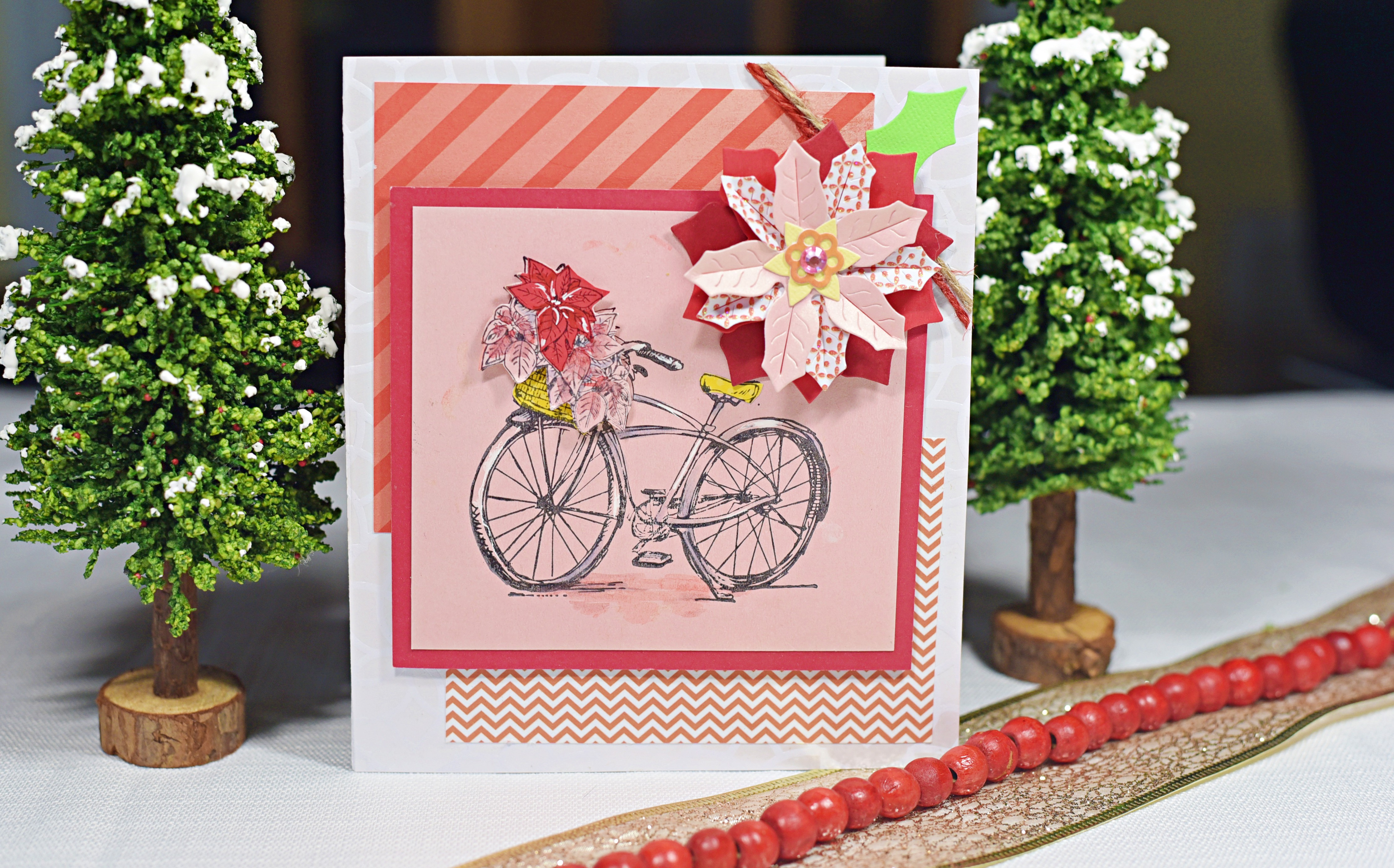 Bicycle with Christmas Flowers in Basket