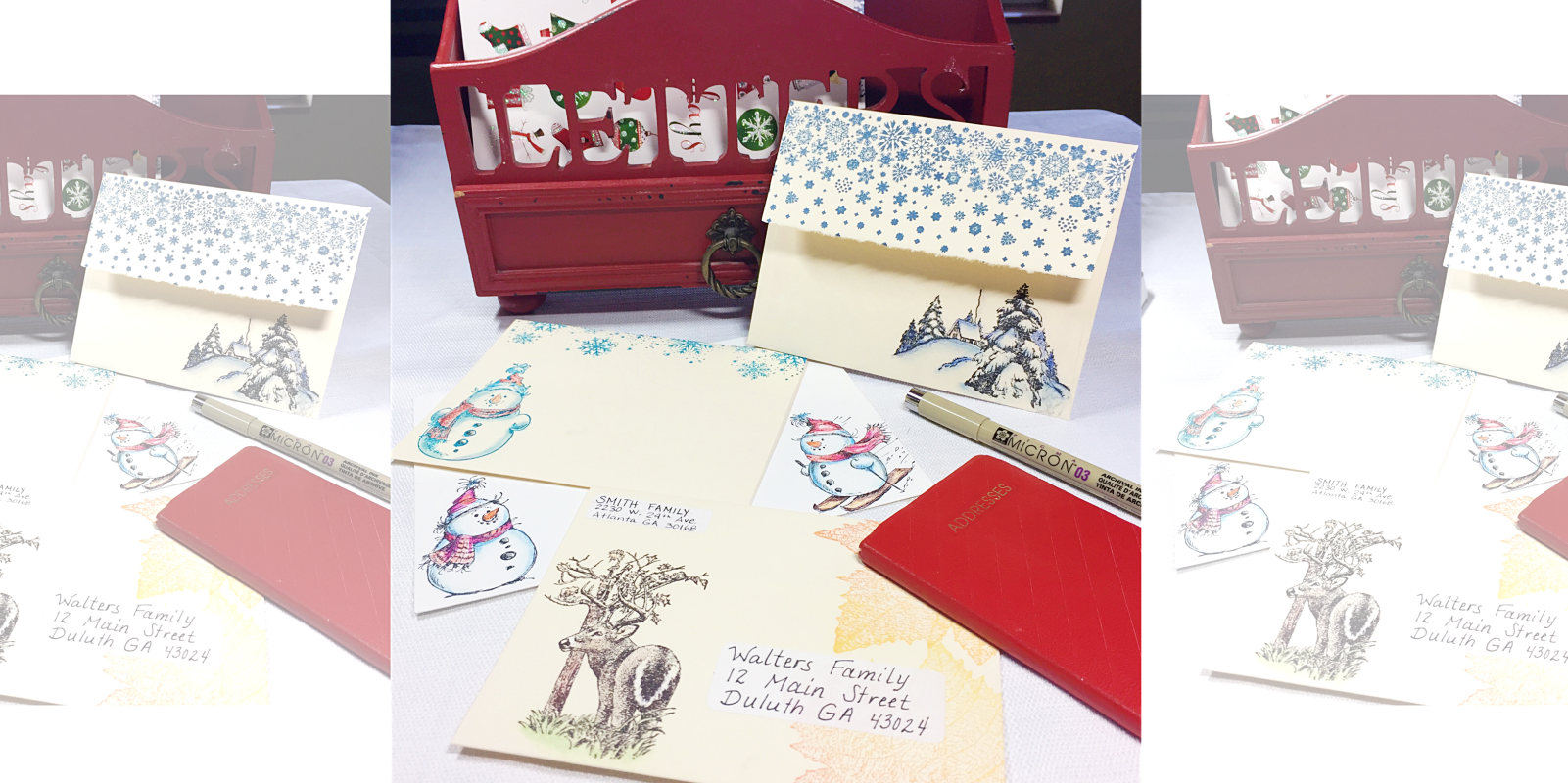 Envelopes stamped with winter themed designs