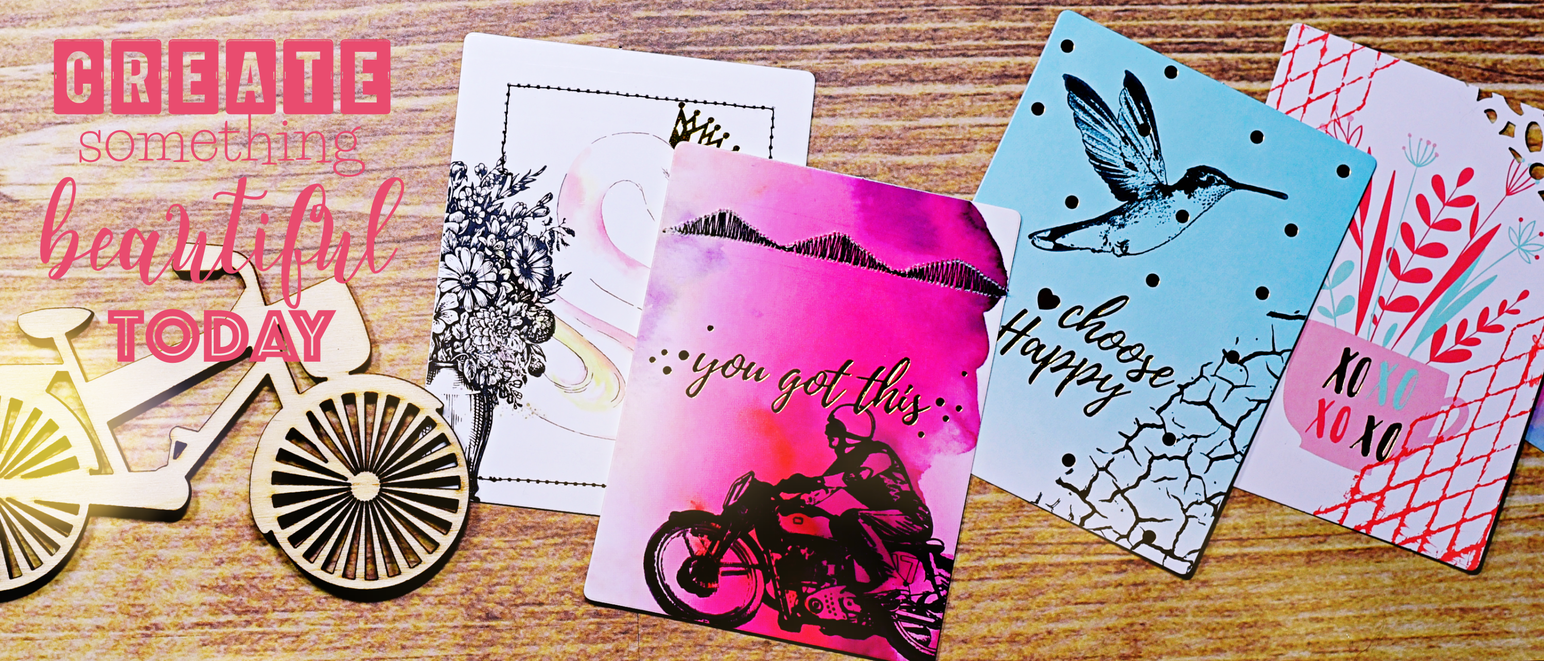 stamped 3x4 journal cards motorcycle racer, summer vase, hummingbird, diamond wire rubber cling stamps