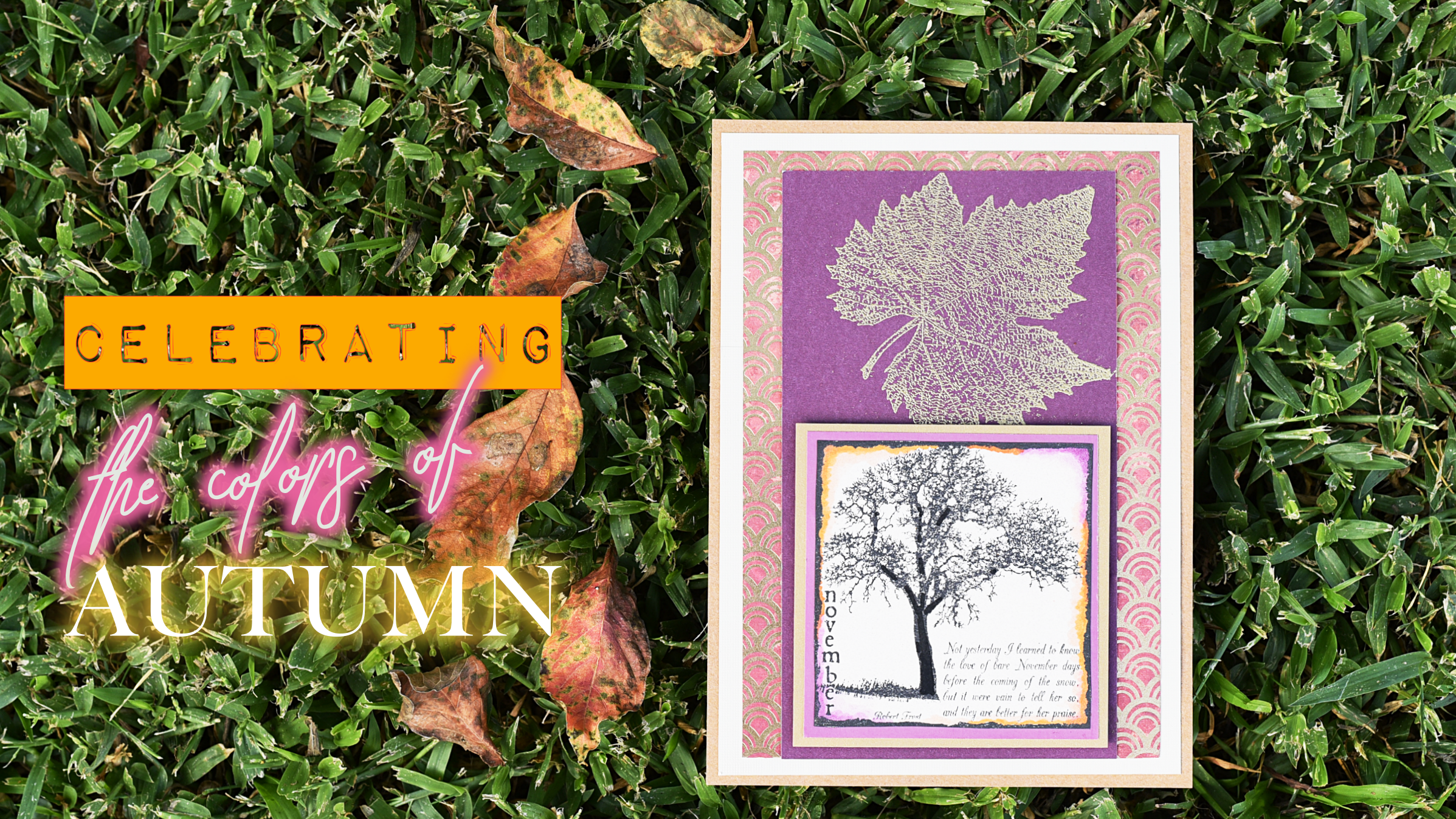 Autumn leaf and November tree card