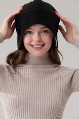 Radia Smart Fleece Earflap Hat Beanie EMF Protection, Anti-Radiation Cap, Brain Coat,Block Radiation, Black