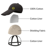 Radia Smart Hat Baseball cap EMF Protection, Anti-Radiation Cap, Brain Coat, Block Radiation, Black