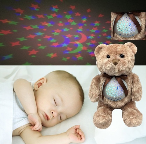 Sleep Soothing Bear  Portable Stuffed Animal Star Projector with 10 Calming Lullaby, Gentle Bird Song, Heartbeat Shusher
