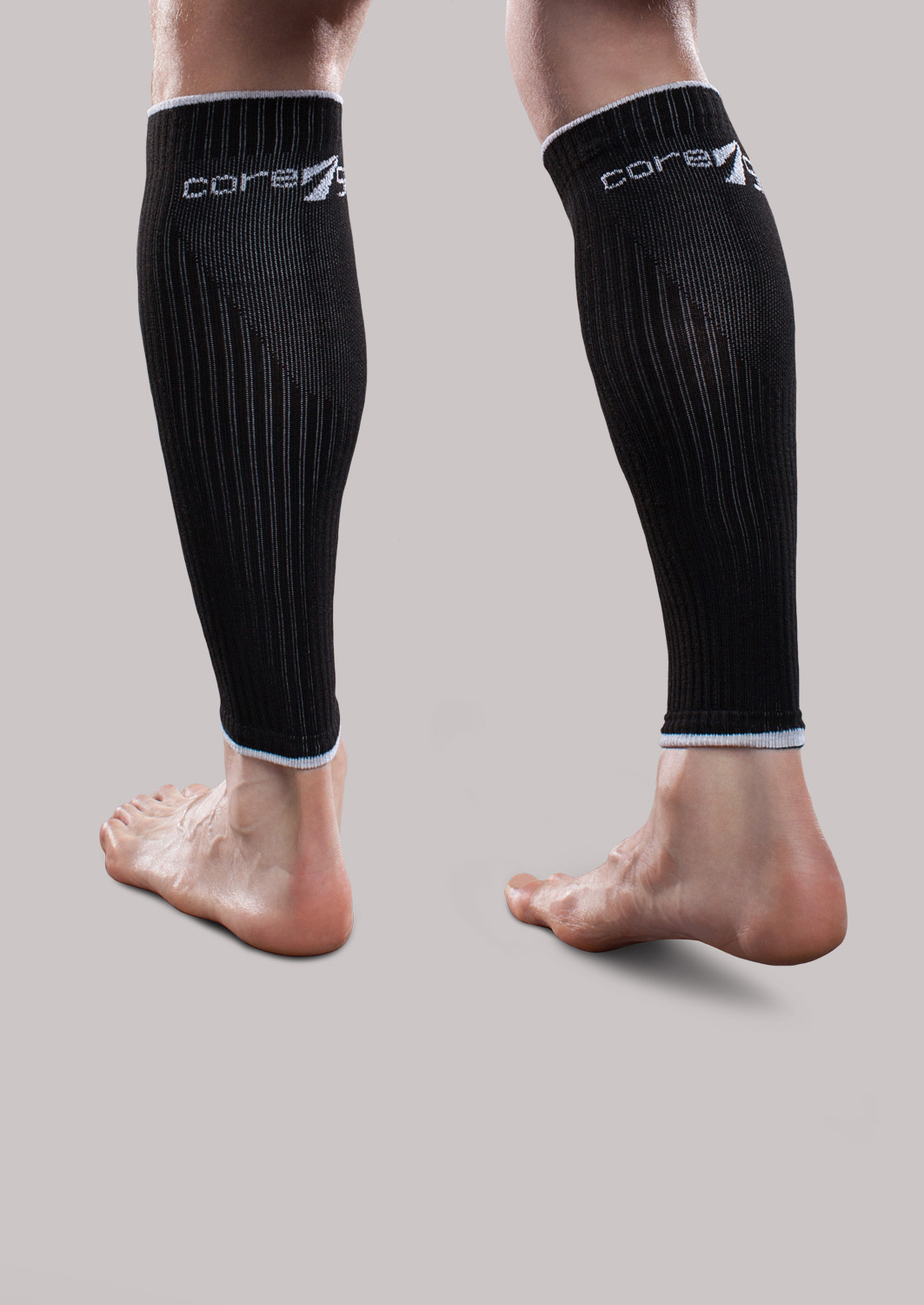 CoreSport Athletic Leg Sleeves for Support Black, XL 15-20mmHg Mild Compression for Athletes