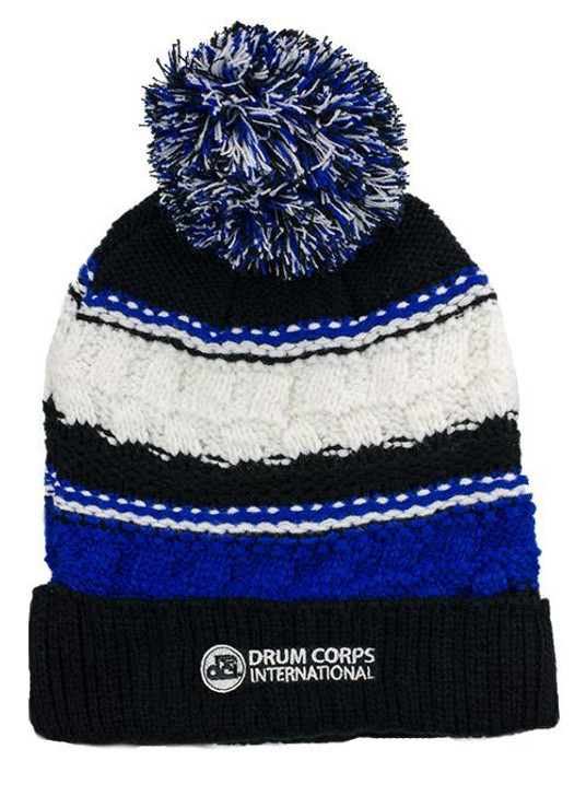DCI Knit Striped Pom Beanie