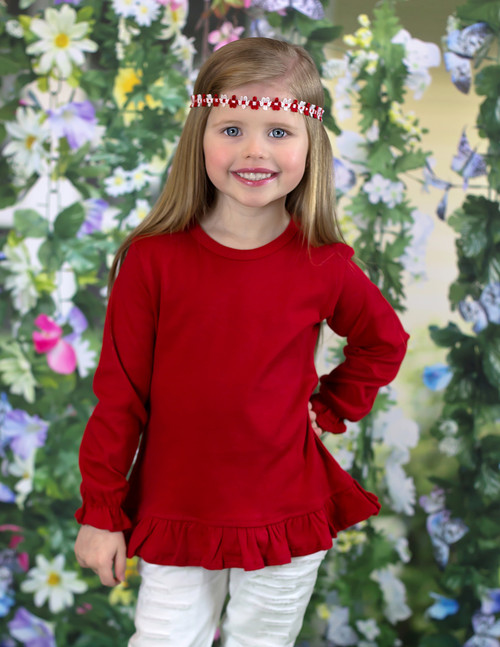 Girls Long Sleeve RED Ruffle Tee
