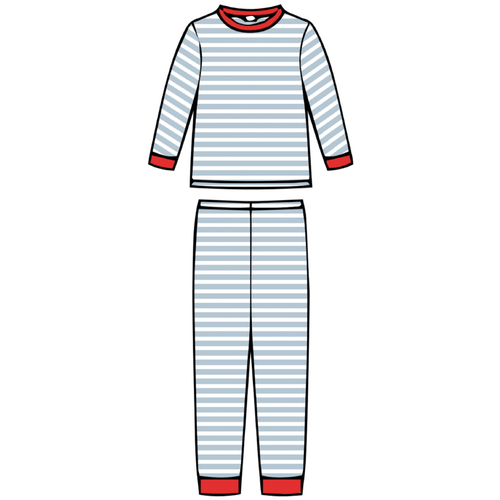 Children's Pajama Set - Blue Stripe - 2021 Christmas Collection Pre-Order