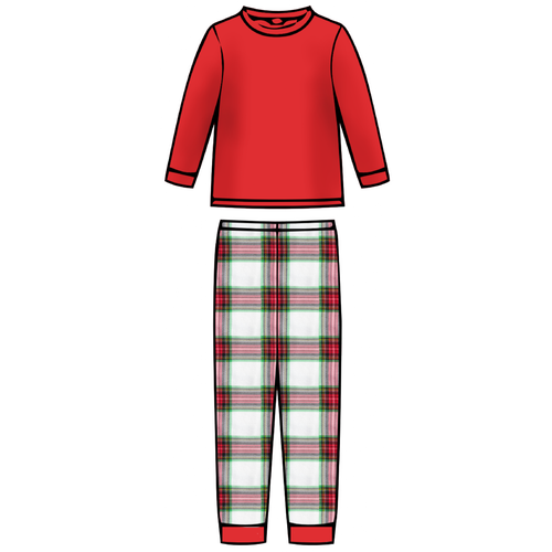Children's Pajama Set  - Plaid Pant Red Top - 2021 Christmas Collection Pre-Order