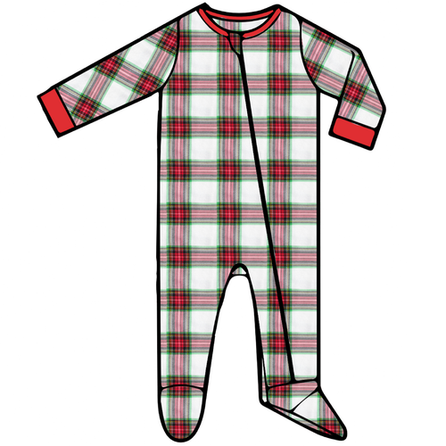 Baby Footed Romper - Plaid - 2021 Christmas Collection Pre-Order