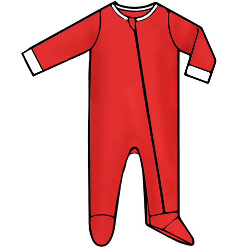 Baby Footed Romper - Solid Red - 2021 Christmas Collection Pre-Order
