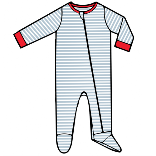 Baby Footed Romper  - Blue Stripe - 2021 Christmas Collection Pre-Order